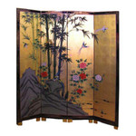 4 Panel 72   inches  high Gold leaf & hand Painted bamboo oriental floor screen and room divider.