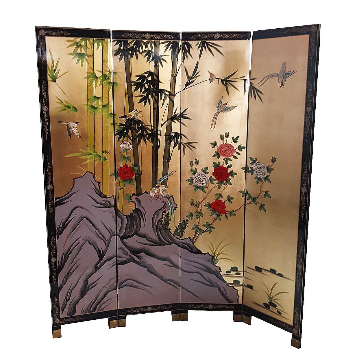 "Oriental Furniture 36/"" Gold Leaf Sakura Blossom"
