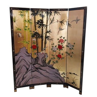 "72"" H. Oriental Room Divider Hand Painted Bamboo on Gold Leaf"