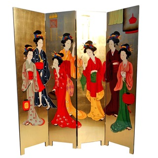 "72""  high Oriental floor screen / Geisha room divider with double sided hand painting on gold leaf ."