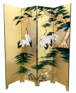 Oriental Folding Floor Screen Hand Painted Cranes