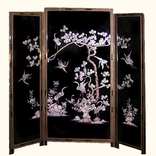69  inches  high. Mother of Pearl inlaid Japanese floor screen at import direct pricing.
