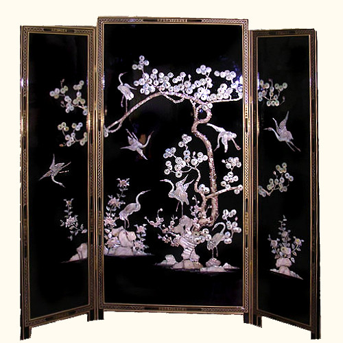Black Lacquer Floor Screen Oriental Mother Of Pearl Inlaid