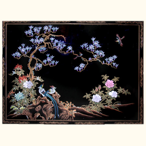 Chinese Wooden Wall Panels In Black Lacquer With Bird And