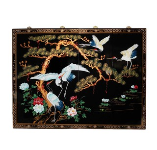 Oriental Wall Art Hand Painted Cranes And Pine Tree