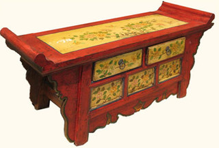 44  inch wide two drawer Tibetan table made from reclaimed lumber and hand painted floral.