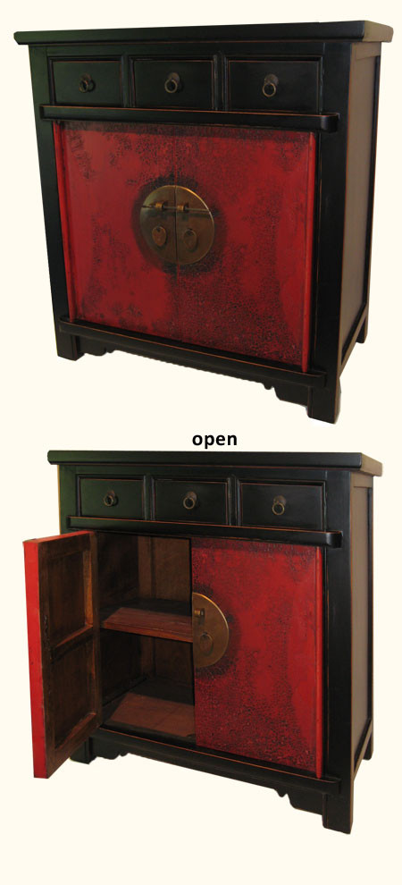 Chinese Lacquer End Table With Asian Decorative Door Brass