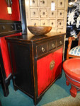 28 inch wide Asian distressed red and black Chinese lacquer ware end table