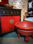 Asian distressed red and black Chinese lacquer ware end table