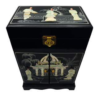 "16"" Black Chinese Lacquer Inlaid Mother of Pearl Jewelry Box with Mirror top, Six felted Drawers for Rings and Things"