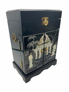 """16"""" Black Chinese Lacquer Inlaid Mother of Pearl Jewelry Box with Mirror top, Six felted Drawers for Rings and Things"""