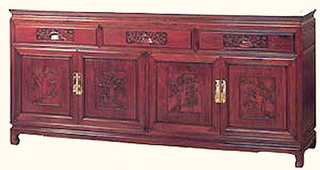 "33"" high Elegant solid rosewood Oriental sideboard w bird & flower design"