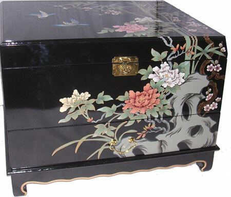 End table sized Oriental trunk. Hand painted shiny black.  One drawer and inside shelf.