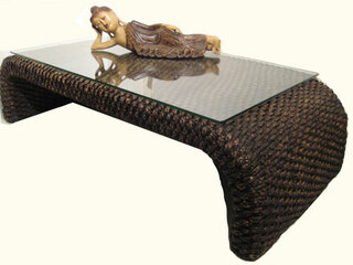 Asian  Shinto coffee table with glass top