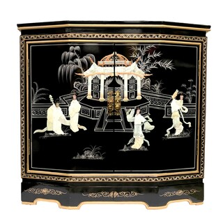 "32"" W. Hand Painted Black Oriental Cabinet with Two Doors, Shelf, Glass Top and Inlaid with Mother of Pearl"
