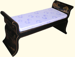 Our Antique black finish Oriental bench in lotus shape with silk cushion & rich gold hand painting.