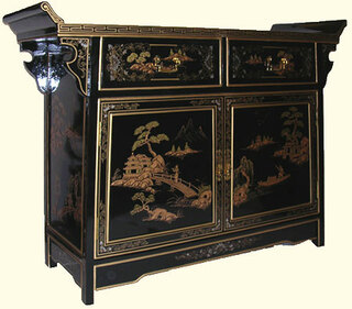 42  inch wide  Oriental Buffet in landscape art with wing top and splayed legs at import direct pricing.