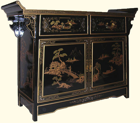 42 Inch Wide Oriental Buffet In Landscape Art With Wing Top And Splayed  Legs At Import