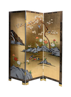 Oriental Folding Screen Hand Painted Gold Leaf Waterfall