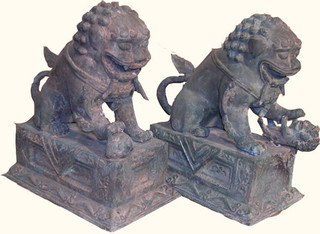 SALE! Pair of Bronze Foo Dogs