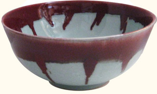 Celadon and Oxblood Drip Porcelain table bowl