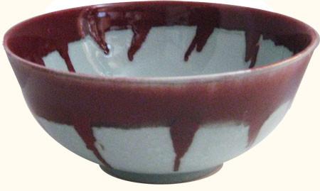 Celadon and Oxblood Drip Porcelain table bowl