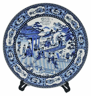 """14"""" Chinese Porcelain Plate Painted Blue & White Lady Dancers With Stand"""