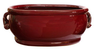 "18"" W Chinese Porcelain Foot Bath Glazed Oxblood"