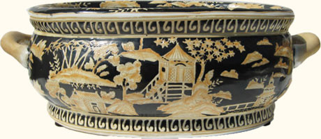 Chinese Bowl Porcelain In Black And Gold Glazing With