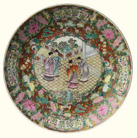 Hand painted rose medallion porcelain plate