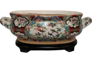 Rose medallion Chinese porcelain centerpiece with handles PDGC9P16A