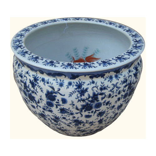 Blue And White Porcelain Fish Bowl Planter With Floral Design In 12