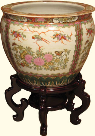 Asian fishbowl planter with rose medallion bird and flower for Chinese fish bowl planter