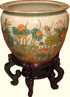 Hand painted Water lily 14 inch  Chinese porcelain fishbowl planter for indoor or outdoor use!