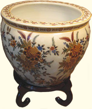 Fishbowl Planter In Chinese Porcelain With Peony Design In