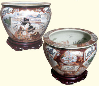 12 Inch Chinese porcelain fishbowl with 3 painted Geishas