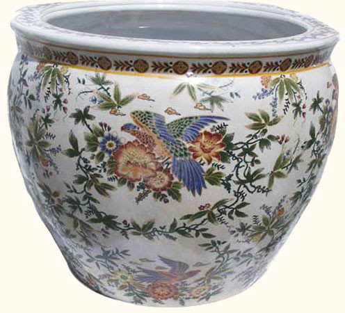 fishbowl planter in chinese porelain with painted parrot