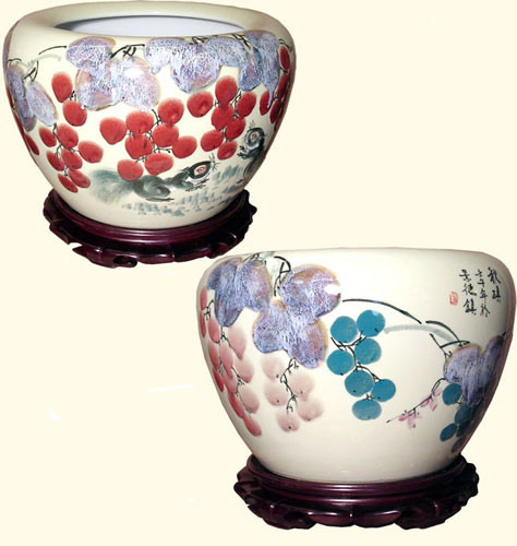 16 Inch-Jingdezhen contemporary Taiwan style  Chinese porcelain fishbowl