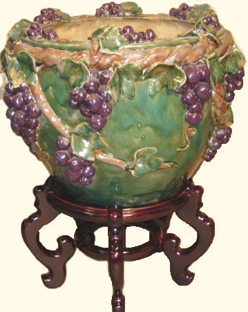 Chinese Carved Planter In Green Ceramic With Grape Vine