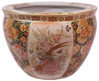 Chinese Porcelain Fish Bowl Planters Glazed Satsuma Pheasant Design
