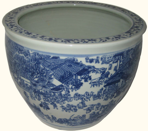 Fish Bowl In Chinese Porcelain With Village Scene In Blue
