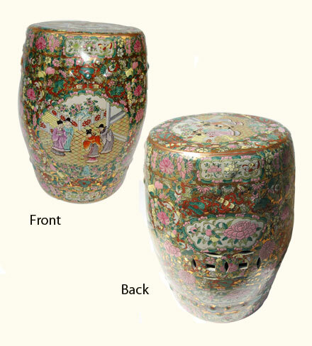 Garden Stool In Chinese Porcelain With Hand Painted Rose