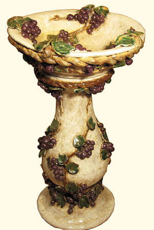 Crackle glaze  17.5 diameter by 28.5 inch high Mallorca ceramic birdbath