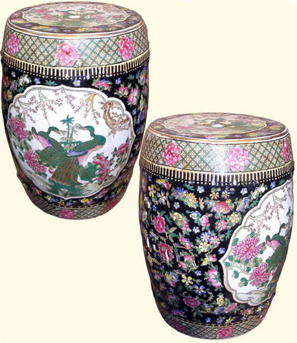 Porcelain Garden Stool With Bird And Flower Design 18