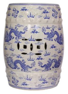 Blue and white porcelain stool