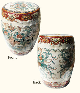 Hand painted Florentine design porcelain garden stool.