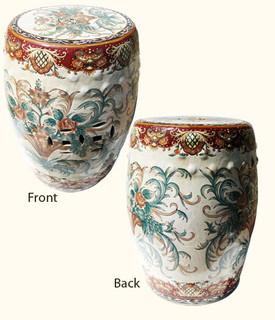 Hand painted Florentine design porcelain garden stool.