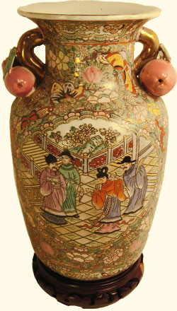Hand painted Chinese Porcelain peach-handle vase. Import direct pricing!