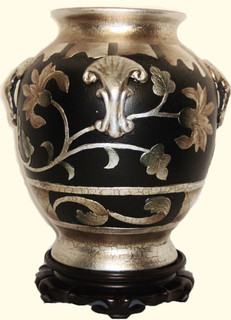 Hand painted Chinese porcelain 12 inch high melon-jar with 4 handles and silver leaf.  Import direct pricing
