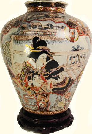 Asian Porcelain Onion Shaped Jar With Hand Painted Geishas